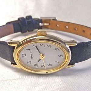 Timex Watch Black Gold Tone Oval 17x24mm